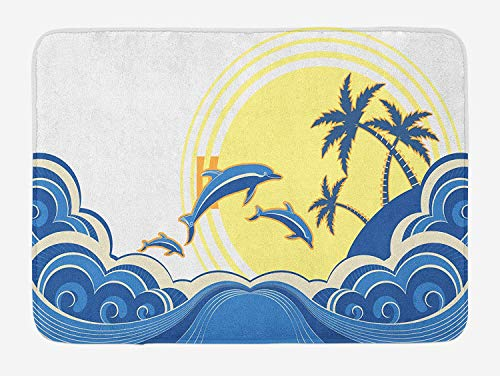 MSGDF Surf Bath Mat, Dolphins Swimming in The Wavy Ocean Near an Island with Palm Trees Tropical Design, Plush Bathroom Decor Mat with Non Slip Backing, 23.6 W X 15.7 W Inches, Multicolor