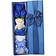 Creative Romantic Blue Flower Bouquet 3 Scented Roses Bath Soap Gift Box With Cute Teddy Bear Birthday Best Anniversary Birthday Mother's Day Valentine's Present sf0303 by Adabele Gifts
