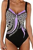 Dokotoo Damen Badeanzug Große Größe Elegant Monokini Einteilig Bauchweg Bademode Push up Badebekleidung L
