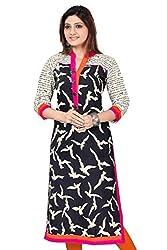 Vatsla Enterprise Women's Cotton Kurti(VKR-51030B_Black_Black_Free Size)