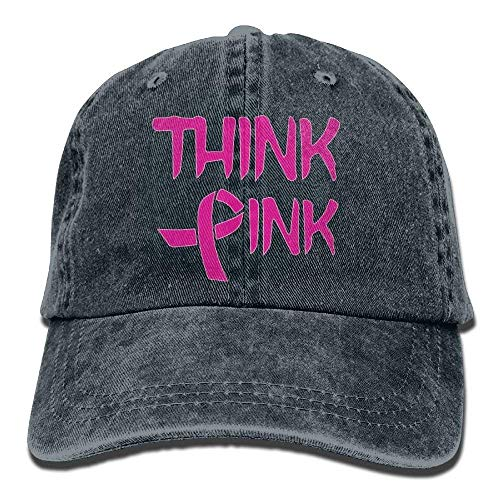 Damen-pink Ribbon Adjustable Hut (Hoswee Unisex Kappe/Baseballkappe, 2018 Adult Fashion Cotton Denim Baseball Cap Think Pink with Ribbon Cancer Awareness Classic Dad Hat Adjustable Plain Cap)