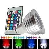 SODIAL (R) MR16 3W 16 Farben aendern RGB-LED-Spot-Licht-Lampen-Birnen-Fernbedienung 12V ??Neu