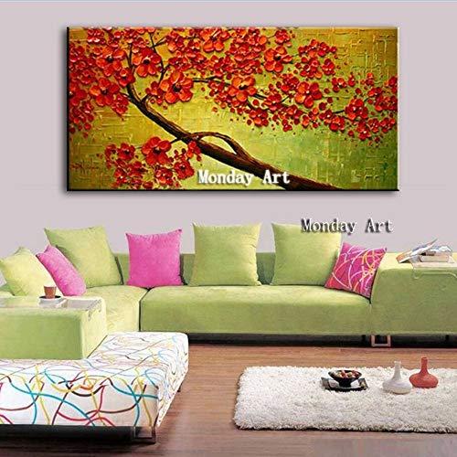 Antik-braun Cherry (Ölgemälde Auf Leinwand Handgemalt,Spachtel Malerei,Abstrakte Landschaft Rote Blumen Auf Braun Cherry Tree,Große Moderne Kunst Wand Dekorative Anstriche Für Wohnzimmer Wohnungen Eingang Schlafzimme)