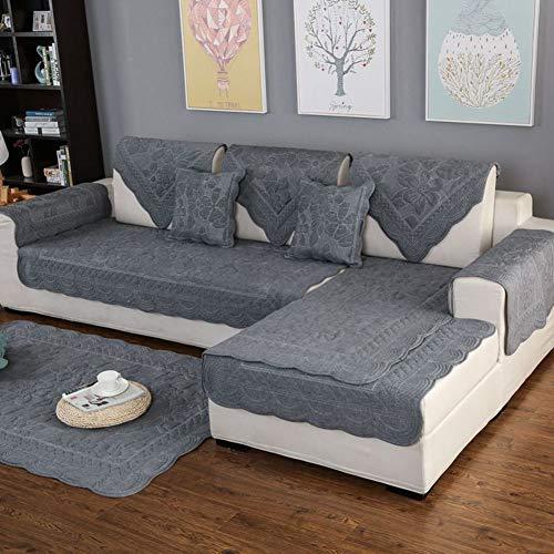 Algodón Antideslizante Sofa muebles protector para mascotas niños,Bordado de Sofá composable tiro funda almohadilla Color sólido Funda de sofá Para l Sofá en forma de u Para toda temporada-1 pieza-D 28x83inch(70x210cm)