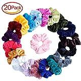 ABREOME Elastisches Haargummis Samt Haar Scrunchies für Mädchen,Haarbänder Pferdeschwanz Samtstoff,20 Farben