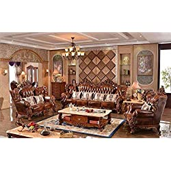 Ma xiaoying Collection 3pc Set: sofá, Loveseat, de piel auténtica y una silla. Marco de madera maciza y tallado a mano