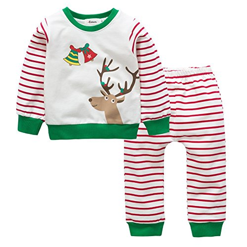 Cotton Pajamas Set for Kids Wingbind Cute Christmas Elk Bell Shirt Long Sleeve Strip Pants Pajamas Set Baby Sleepwear Suit (Cute Christmas Elf Kostüme)