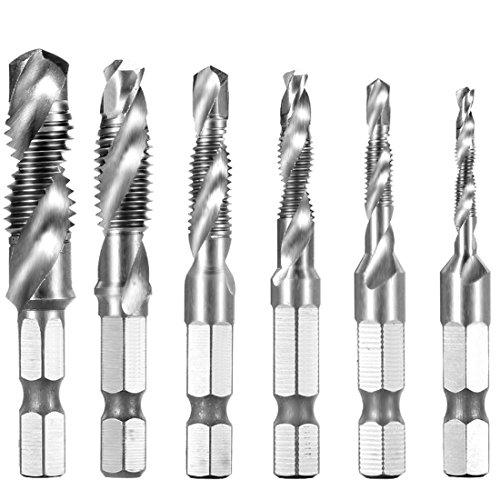 6PCS Kombi-Bohrer 1/4 HSS M3-M10 Schraube Sechskantschaft Senker Werkzeuge Bohrer-Bit Set Maschinengewindebohrer Drill Bits für Holz Kunststoff Aluminium Kupfer