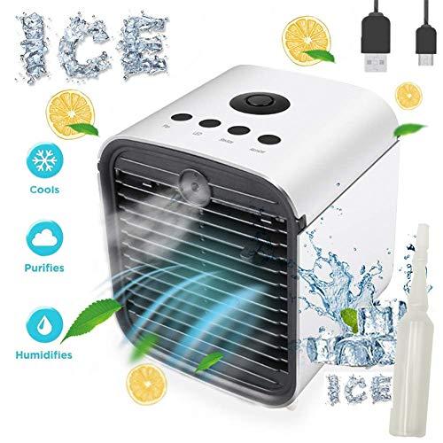 Nifogo Air Mini Cooler Luftkühler, 3 In 1 Mobile Klimageräte, Luftbefeuchter, Luftreiniger & Tischklimaanlage Ventilator mit 7 Farben LED-Licht, Leakproof New Filter (Weiß)