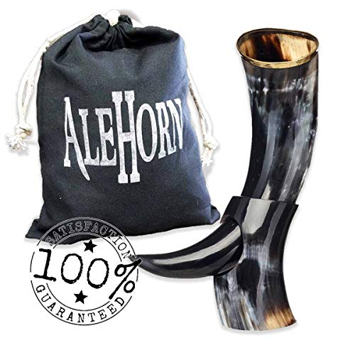 AleHorn Handcrafted 12 Polished Viking Drinking Horn with Stand by Ale Horn