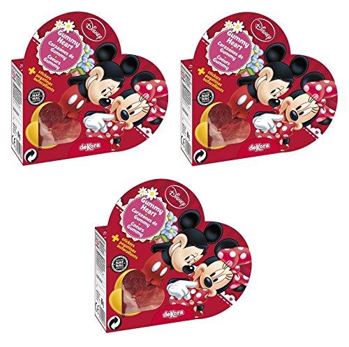 3er Set Minnie und Mickey Fruchtgummi Herzen in schöner Herz-Verpackung mit Sticker