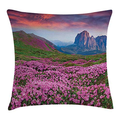 Nature Throw Pillow Cushion Cover, Colorful Field of Blossom in The Morning Grand Dramatic Mountains Canyon Artwork, Decorative Square Accent Pillow Case, 18 X 18 inches, Pink Green