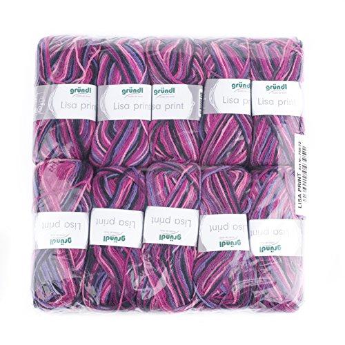 Gründl 755-72 Lisa print Wolle, 100 % Polyacryl, mehrfarbig, 32 x 27 x 6 cm, 10er-Pack