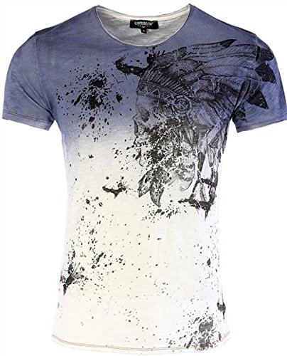 CARISMA Designer T-Shirt Indigo mit Indian-Skull-Print CRM4476 L - Indian Skull T-shirt