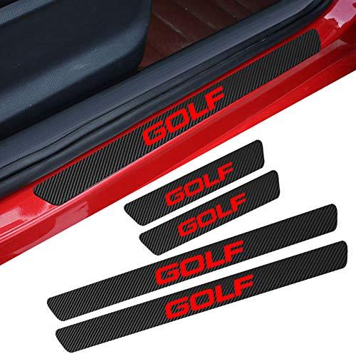 L&U 4 Unids Puerta del Coche Sill Scuff Plate Protector Pegatina De Fibra De Carbono para Volkswagen Accesorios,Golf