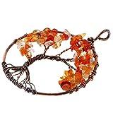 MagiDeal Collar Colgante de Alambre Cobre de Vendimia de Encantos Forma de Árbol de Vida - Naranja