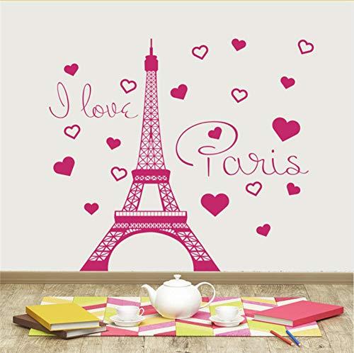Mrhxly Amovible J'Aime Paris Stickers Autocollants En Vinyle Paris Tour France Accueil Intérieur Pour Enfants Chambre Salon 63 * 130 Cm
