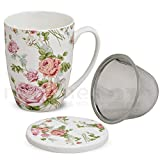 matches21 Teetasse Teebecher Rose Blüten Rosenblüten mit Deckel & Teesieb