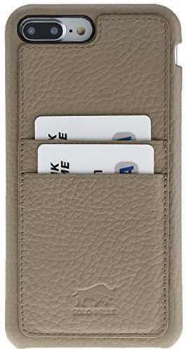 "Solo Pelle iPhone 7 Plus / 8 Plus Case Lederhülle Ledertasche Backcover "" Slimfit "" in Vintage Braun Fullcover-Taupe"