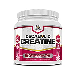 Decabolic Creatine : Powerful 10 BLEND Creatine (2CM Di-Creatine Malate * CreaPure Creatine Monohydrate * Creatine Ethyl Ester * Creatine Alpha-Ketoglutarate * Di-Creatine Orotate * Magnesium Creatine Chelate * Creatine Citrate * Tri-Creatine Malate * Creatine Anhydrous) Extreme Anabolic Muscle, Strength and Size Boost Supplement without Steroids / HGH