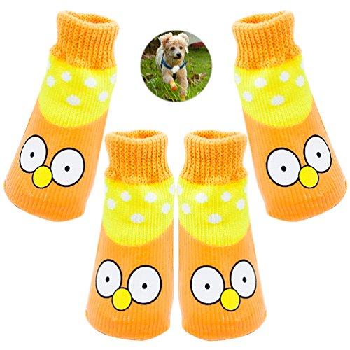 Petacc Calcetines impermeables para perros Botas antideslizantes de mascotas Protectores de pata de cachorro, Patrón de ojos amarillos (2)