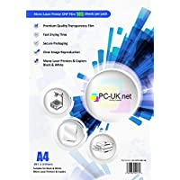 100hojas LASER retroproyector Film/Transparencia OHP película Plus extra 5hojas, A4, 210x 297mm, Transparente, compatible con blanco y negro Mono Laser Impresoras y copiadoras de pc-uk. Net