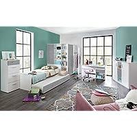 5-tlg. Jugendzimmer in alpinweiß, mit Eckschrank B:124 cm, Bett 90x200 cm, Ausziehliege B:90 cm, Schreibtisch B: 140 cm u. Rollcontainer B: 46 cm - preisvergleich