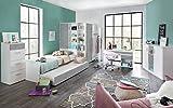 lifestyle4living Jugendzimmer, Jugendmöbel, Teenagerzimmer, Kinderzimmer, Junge, Mädchen, komplett-Set, alpinweiß, 5-TLG, Beton lichtgrau