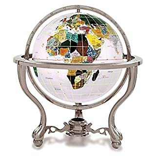 KALIFANO 6 Gemstone Globe with Opal Opalite Ocean and Antique Silver Commander 3-Leg Table Stand by Alexander Kalifano