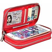 Frizione dell'unità di elaborazione raccoglitore della borsa con la doppia zip slot per schede del supporto del telefono borsa portatile per iPhone cellulare 5s 6s 7 plus / Samsung S4 S5 S6 / Sony