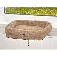 nanook Katzen Fensterbankliege Katzenliege für Fenster Liegemulde Sleepy, Größe L, Teddyfell braun