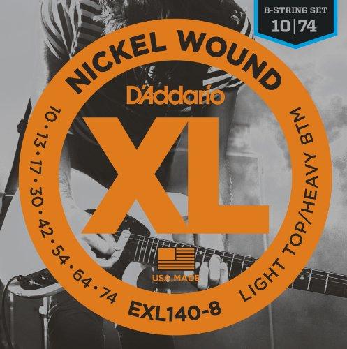 D'Addario EXL140-8 Nickel Wound Saiten für 8-saitige E-Gitarren 10-74 Light Top/Heavy Bottom