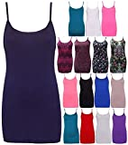 Search : RSVH Womens Printed Plain Ladies Stretch Long Strappy Cami Camisole Vest Tank Top