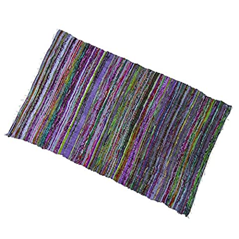 stripe recycled cotton rug woven mat chindi rug indian carpet