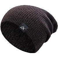 Malloom Sombrero de Hip Hop Gorro de punto Gorra de hilo Fibras acrílicas Sombrero de punto Mantener el sombrero de bola de piel de invierno cálido