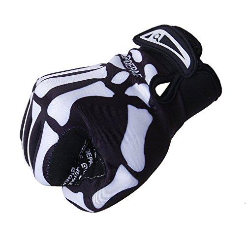 Fahrrad Skelett Muster Voll Finger warmen Radsport Handschuhe schwarz + weiß (XL) (Handschuhe Volle Finger-kompression)