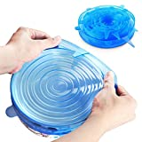 Yidarton 6pcs Silicone Stretch Lids Reuseable Durable Expandable Silicone Food Storage Covers(6 Pack of Various Sizes) (Blue)