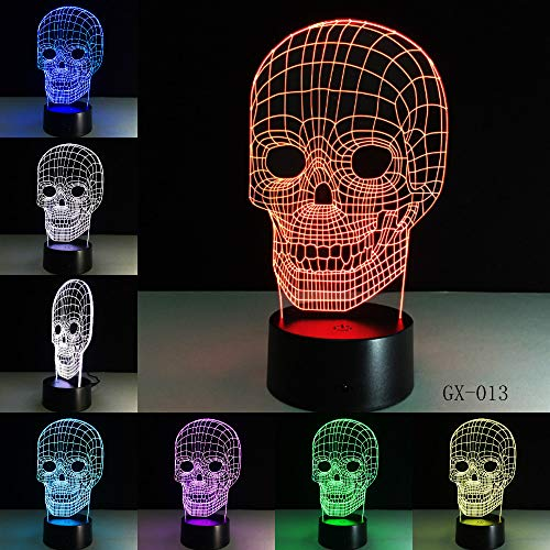 Traditionelle 3D Schädel Licht Schreibtisch Tisch Schlafzimmer Lampe Rc Spielzeug Kid Nacht Schlaf Baby Schlafen Nachtlicht Home Party Decor Geschenke With remote control - Home Decor Traditionellen Tisch-lampe