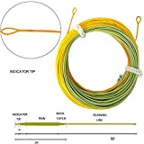 Aventik Fliegenschnur Indikator Angelschnur Fliegennymphe für Alle 0–5 Tri-Tone Indikator Tip Loading Zoom Loop Line Ultra Thin Ultra Low Stretch Line, Orange+Green+Yellow