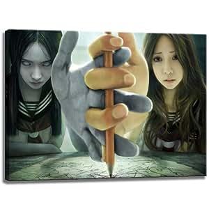 Horreur image Anime / Manga sur toile, taille: 100x70 cm. Art impression de haute qualité comme une fresque. Moins cher qu'une peinture à l'huile! ATTENTION NO affiche!