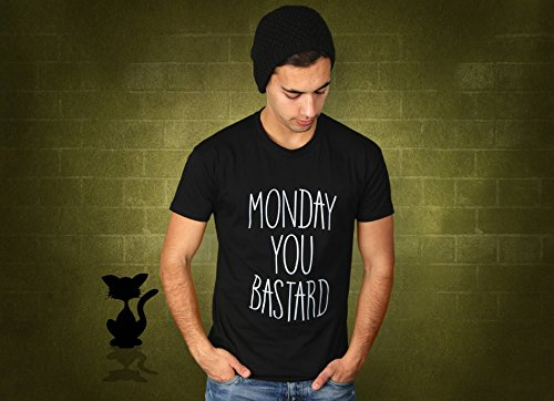 Monday You Bastard - Herren T-Shirt von Kater Likoli Deep Black