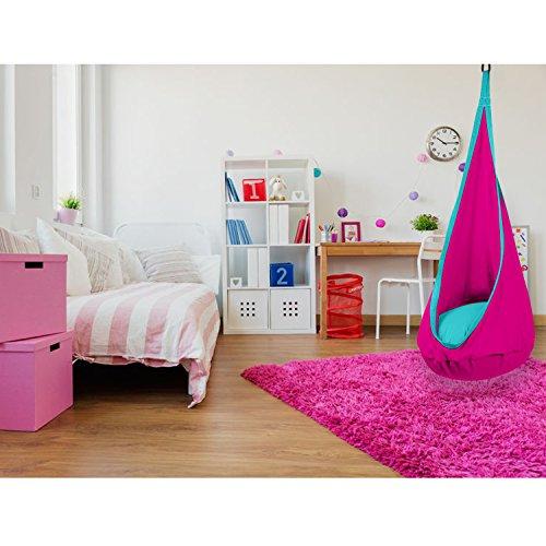 SAMAY Fauteuil suspendu pour enfant avec coussin - pour chambre de fille - rose vif et turquoise