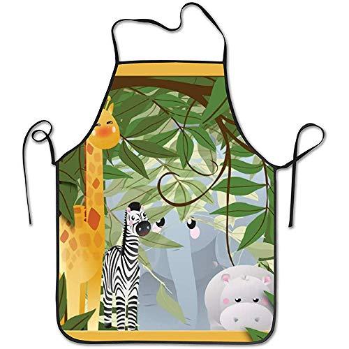 Jungle safari animali bambini giraffa divertente grembiule da cuoco novità cooking chef regalo per uomo donna cottura regalo grembiule da cucina 52 * 72 cm