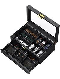 CRITIRON Caja para Relojes, Caja joyero Organizador de Joyas, Artesañía Premium (Negro-Madera)…