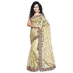 Aruna Sarees Womens Net Ready Pleated Saree (Rusell-300_Beige)