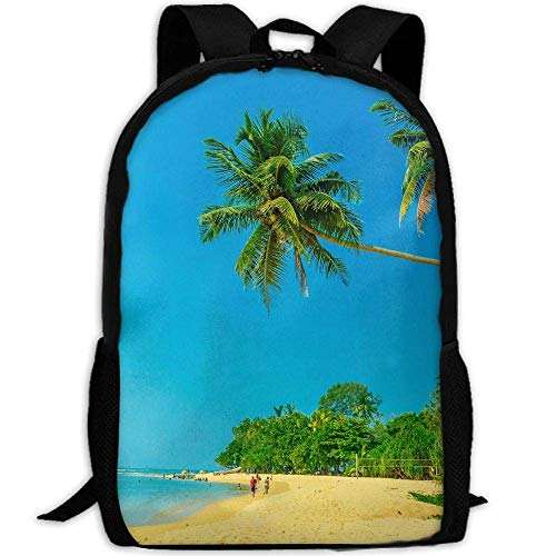 TRFashion Summer Sea Beach Palm Unisex Custom Backpack School Leisure Sports Book Bags Durable Oxford College Laptop Computer Shoulder Bags Lightweight Travel Daypacks Rucksack