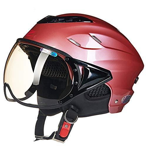 FLYFEI Mezzo Casco per Motociclista AdultoCasco Moto Apribile Estivocon Sun VisorCasco JetCasco Pilotaper Vespa Moped CruiserBambini Uomini DonneDimensione Rossa: 55-60 Cm