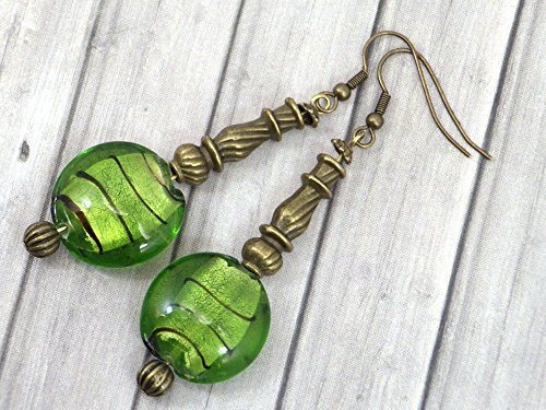 Pendientes de bronce Venezia con perlas planas en cristal de Murano verde