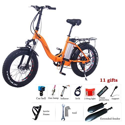 Elektrofahrrad Faltbares Mountainbik 20 \'\' Elektrisches Fahrrad Ebike Shimano 7 Gang 48V 12Ah Abnehmbar Lithiumbatterie LCD-Instrumententafel Scheibenbremsen Fatbike MTB Reifen,Orange