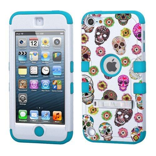 Phonetatoos Schutzhülle für iPod Touch 5. / 6. Generation, Hartschale, kompatibel mit Apple, stoßfest, Hybrid-Schutzhülle mit Ständer für Jungen und Mädchen, Sugar Skulls (Dollar Mädchen Artikel)